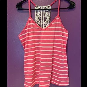 Juniors tank top with cute lace detail back